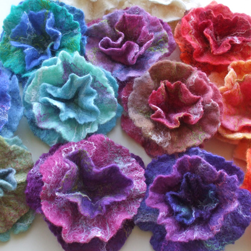 Hand dyed British Wool Flowers