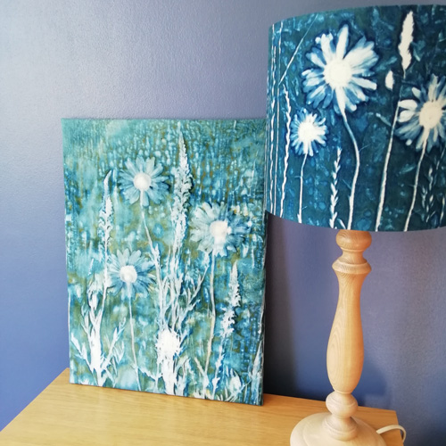 Daisy cyanotypes on cotton
